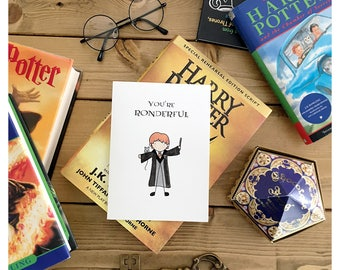 Ronderful // harry potter inspired, Ron Weasley, Harry Potter card, ron card, wizard card, hogwards, funny birthday card, punny card, pun