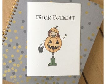 Trick Or Treat Card // trick or treat, greeting card, holiday card, halloween card, festive card, cute card, pumpkin card, funny cards, pun