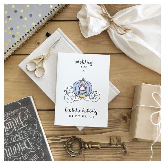 Cinderella Birthday Card Disney Birthday Card Disney Etsy