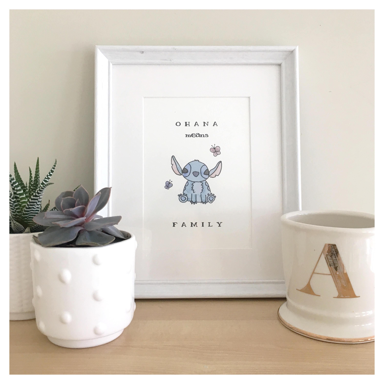 Stitch Print // Disney Print, Ohana Print, Lilo And Stitch, Disney Wall Art,  Watercolour Print, Family Print, Disney Watercolour, Stitch