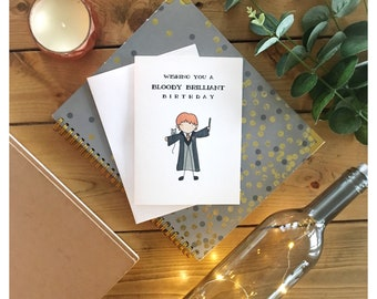Bloody Brilliant Birthday // birthday card, greeting card, funny card, punny, harry potter, ron weasley, for him, for her, british, dad joke