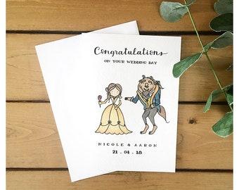 Beauty and the Beast Custom Wedding Card // disney card, custom card, wedding card, greeting card, marriage card, disney, belle, punny, pun