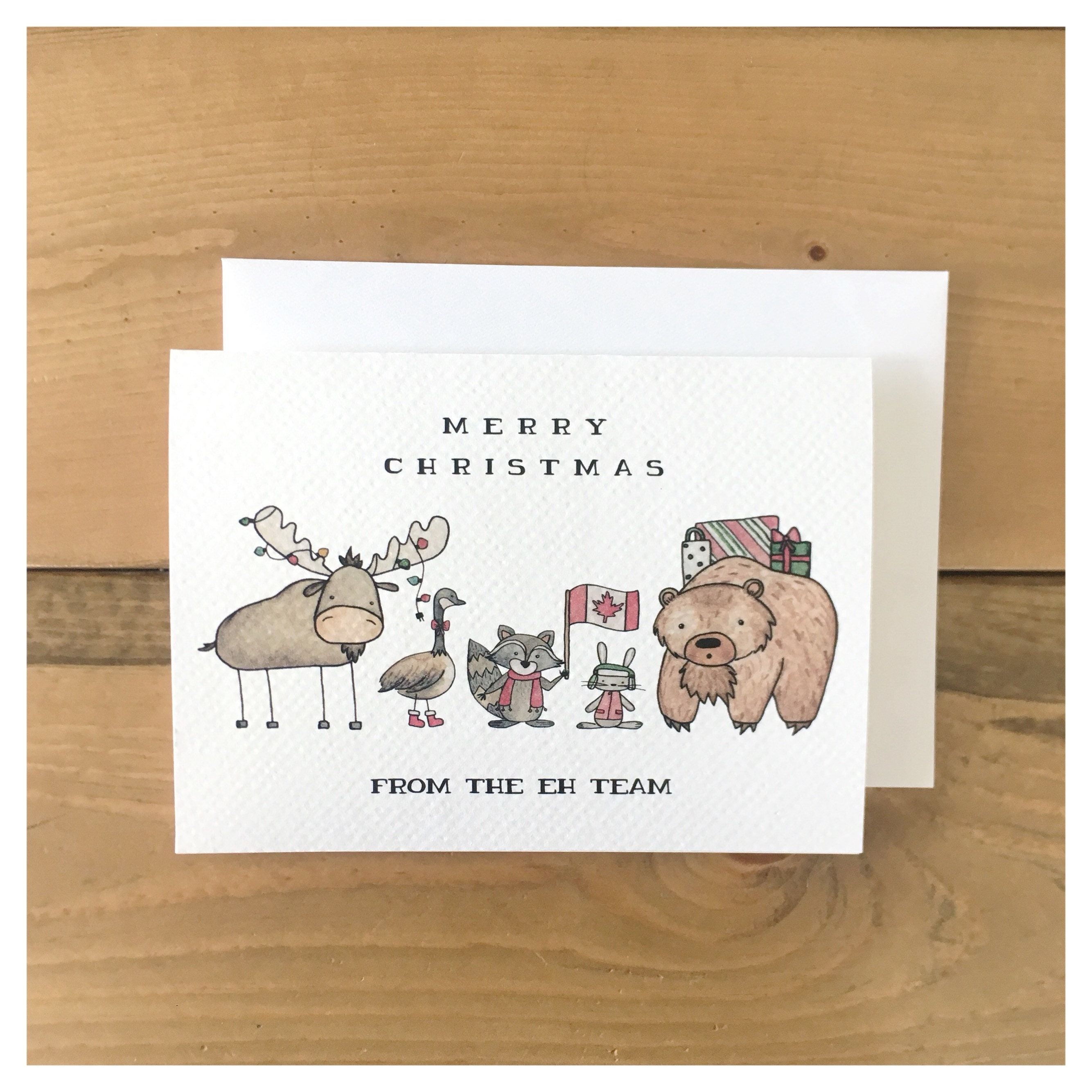 Eh team christmas card canada card canadian greeting card made eh team christmas card canada card canadian greeting card made in canada canadian animals eh punny pun funny card watercolour m4hsunfo