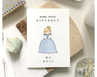 C I N D E R E L L A // birthday card, cinderella birthday card, princess birthday card, princess gift, cinderella gift, disney card, punny