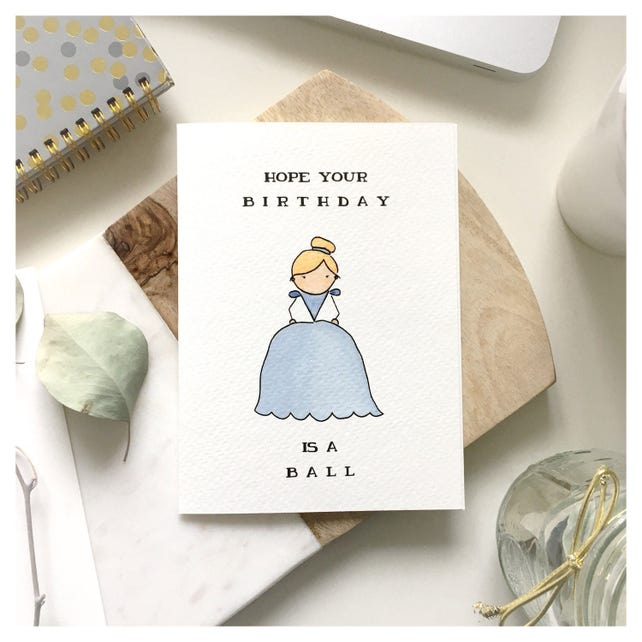 Cinderella Card // birthday card, cinderella birthday card, princess birthday card, princess, cinderella, disney card, punny, pun, disney