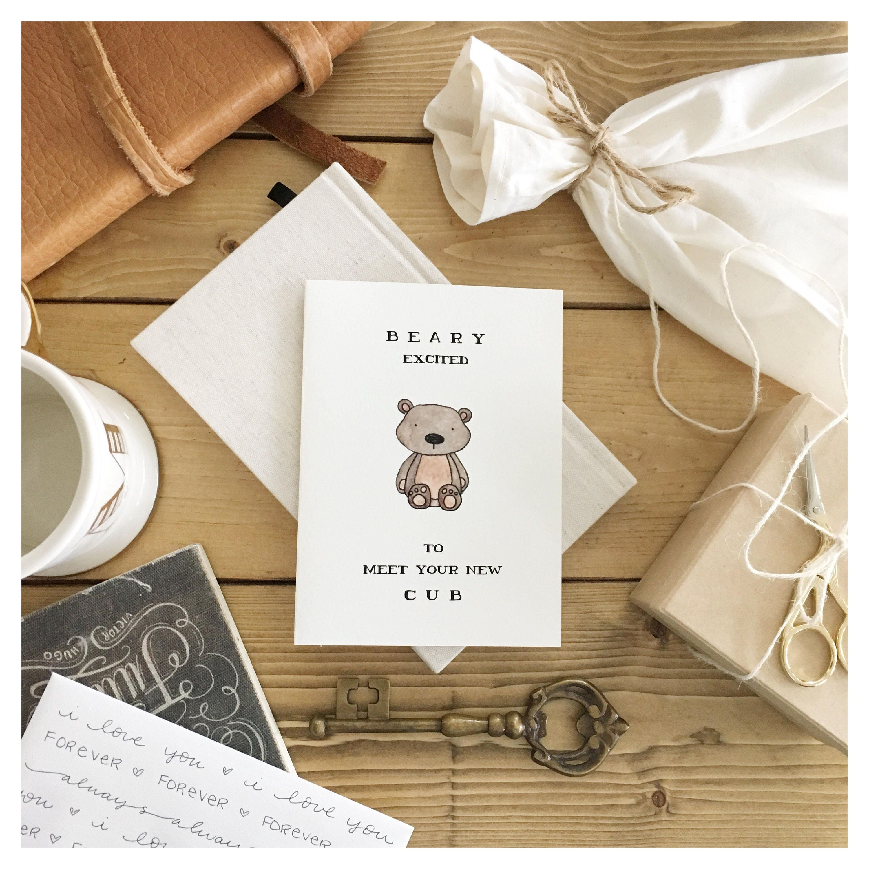 Baby card // baby shower card, baby bear, card for baby, funny baby ...