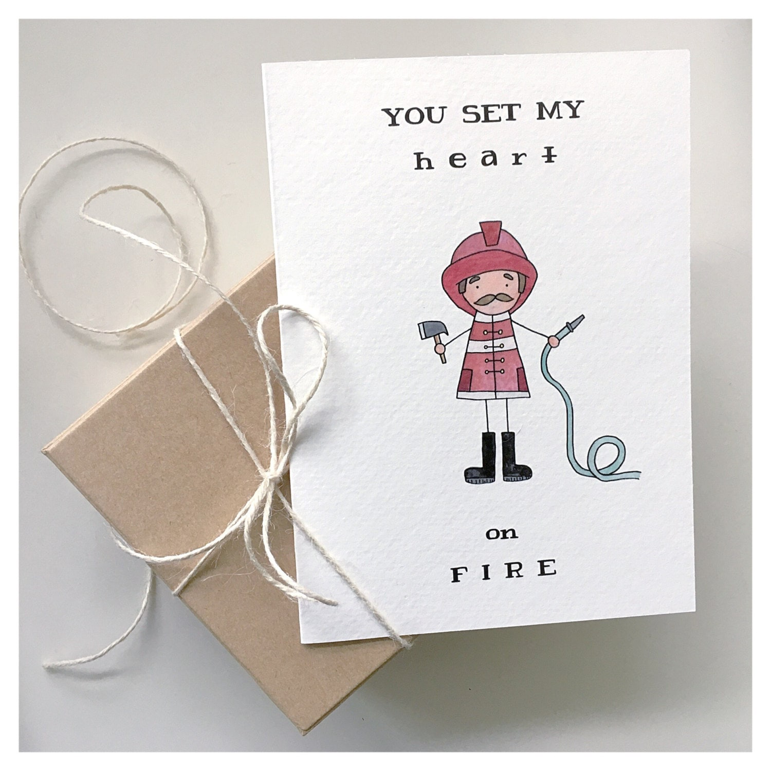 FIREFIGHTER CARD // fireman themed love card, punny greeting card ...