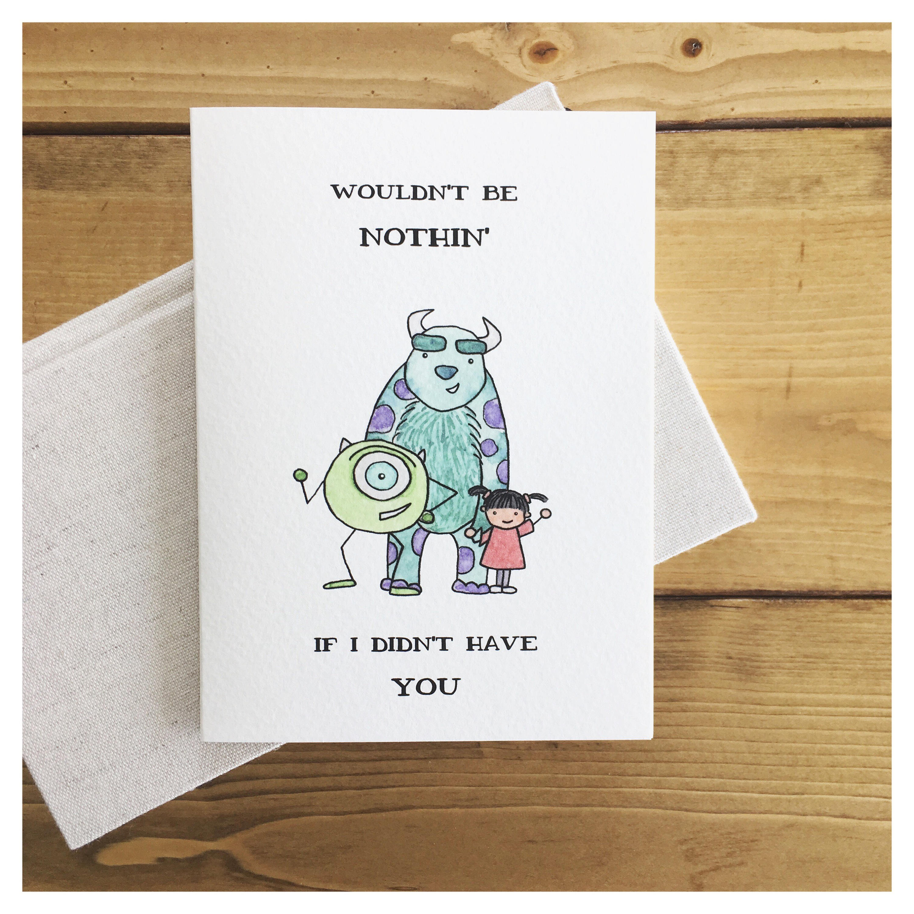 Monsters Inc Card Friendship Card Card For Friend Thank You
