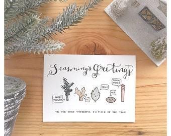 Seasoning Card | Seasons Greetings, Cooking Spice, Funny Christmas Card, Snail Mail, Christmas Card, Holiday Spice, Christmas Baking, Pun