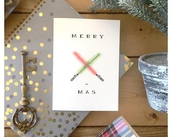 Lightsaber Christmas card // star wars christmas card, star wars card, fandom, lightsaber, holiday card, star wars gift, nerdy, fandom, pun