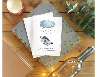 Eeyore Card // winnie the pooh, disney, greeting card, get better card, get well, card for friend, encouragement card, eeyore, tigger, punny