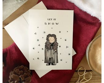 Let it Snow // Jon Snow, Game of thrones, pun, funny card, christmas card, greeting card, fandom, pop culture, holiday card, punny, GOT