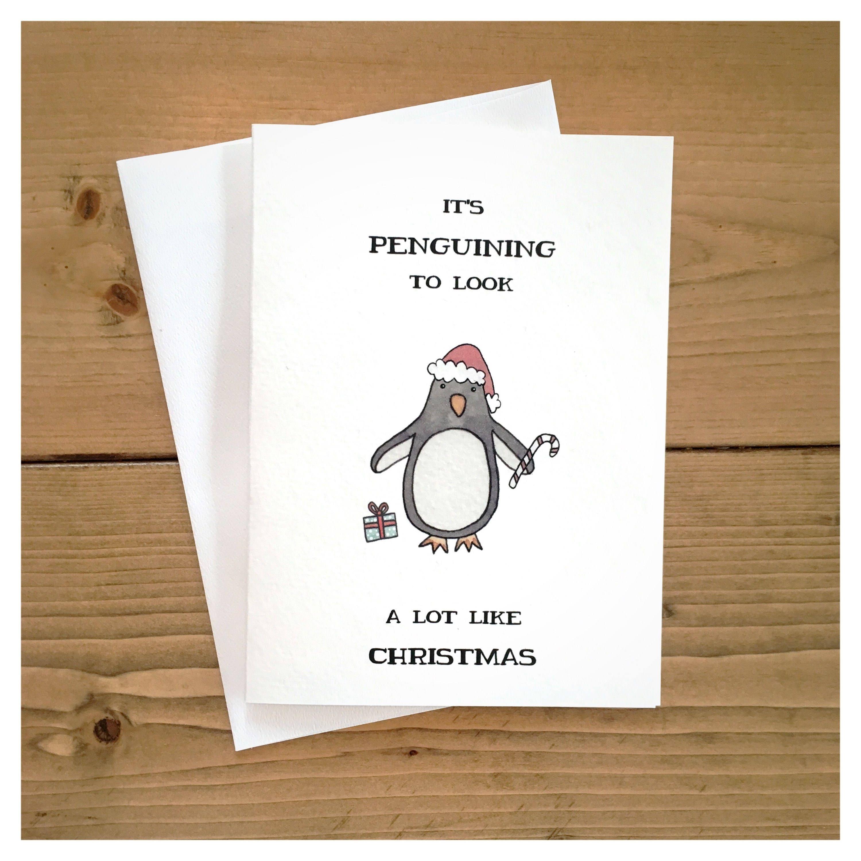 Penguin Christmas Card // christmas card, holiday card, cute ...