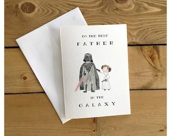 Starwars card for dad // star wars card, darth vader, princess leia, funny card, father's day card, for dad, birthday card, dad's birthday