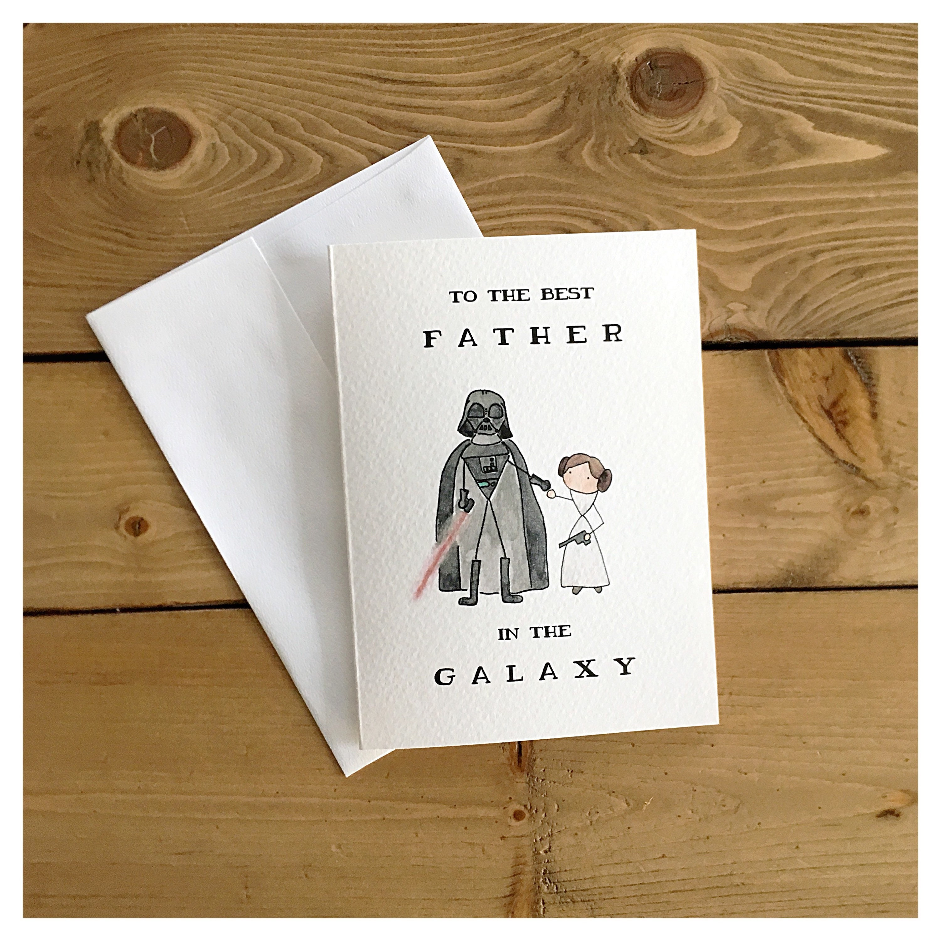 Best Father In The Galaxy Leia Darth Vader Fathers Day Card