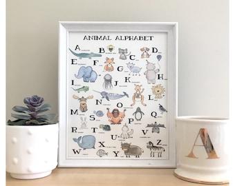 ANIMAL ALPHABET // alphabet print, print for baby's room, baby gift, nursery print, nursery wall art, animal print, alphabet art, baby gift