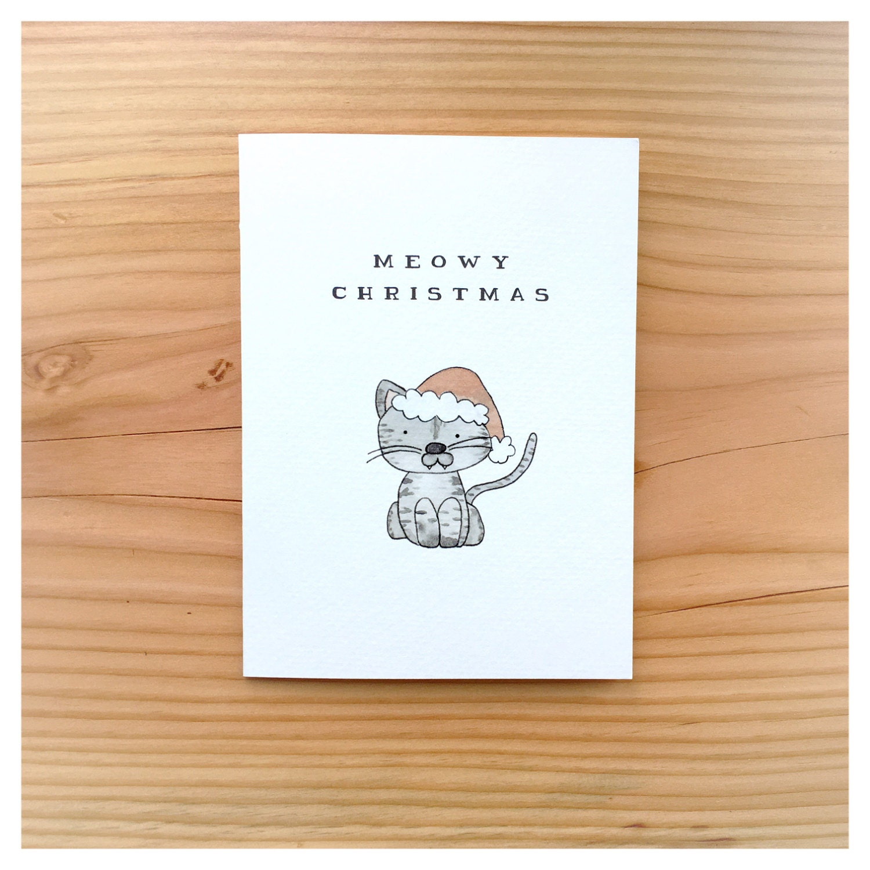 Merry Christmas Puns.Meowy Christmas Merry Christmas Card Cat Card Cat