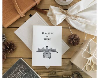 Hang In There // thinking of you, thinking of you card, encouragement card, empathy card, pun card, sympathy card, punny, bat card, im sorry