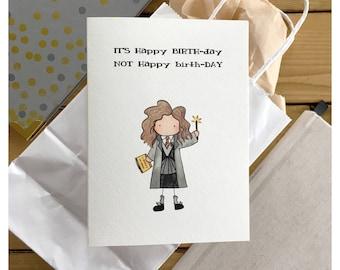 Witch Birthday Card // magical birthday, wizard card, witch card, happy birthday, greeting card, funny card, punny, birthday card