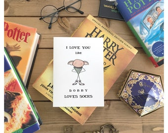 DOBBY CARD • harry potter, harry potter love card, harry potter valentines day card, dobby, house elf, funny Valentine's Day card, love card