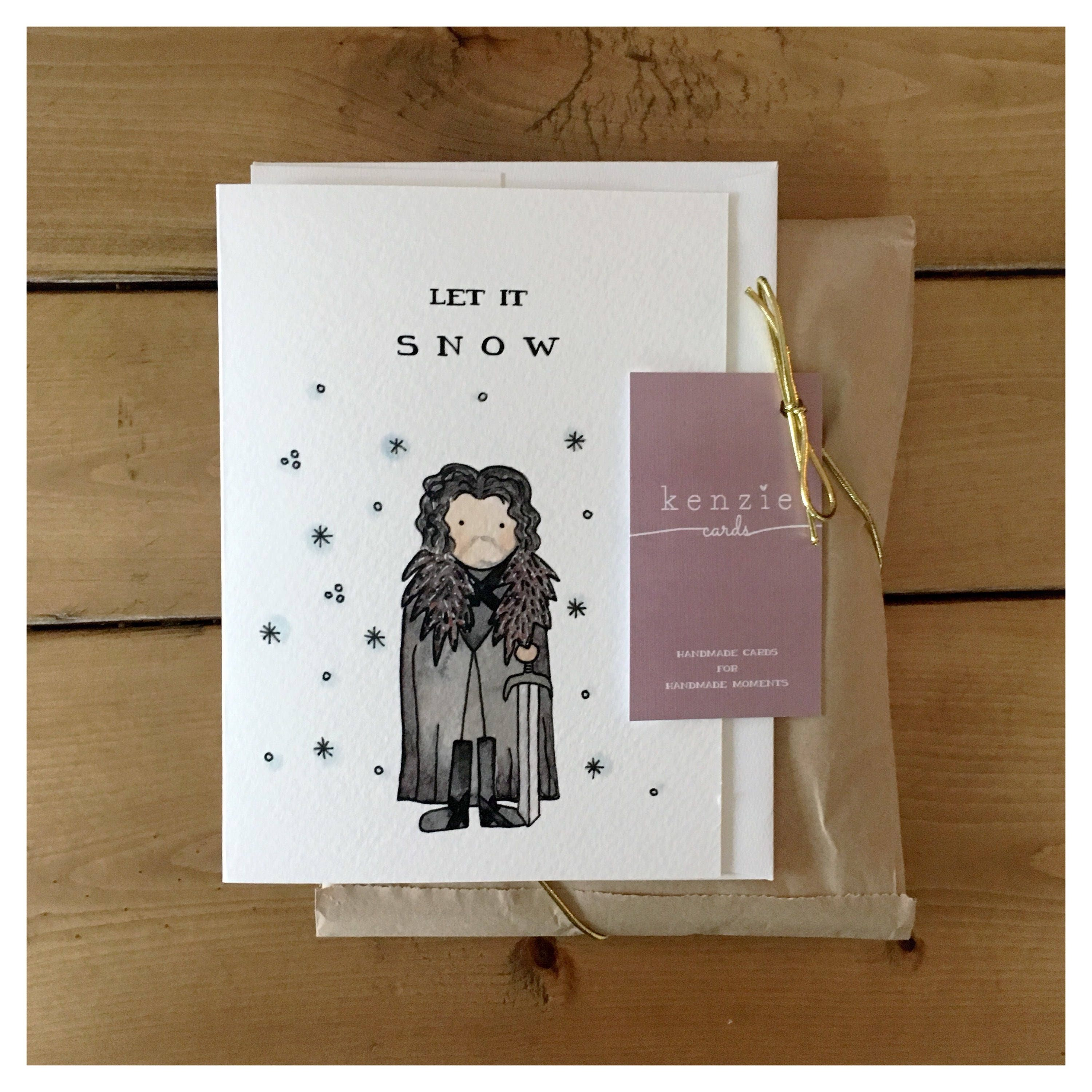 Let it snow jon snow game of thrones pun funny card christmas let it snow jon snow game of thrones pun funny card christmas card greeting card fandom pop culture holiday card punny got m4hsunfo