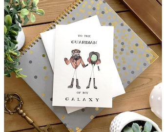 Guardians of the Galaxy // gamora, starlord, greeting card, love card, Valentine's day card, for boyfriend, for him, cute card, funny card