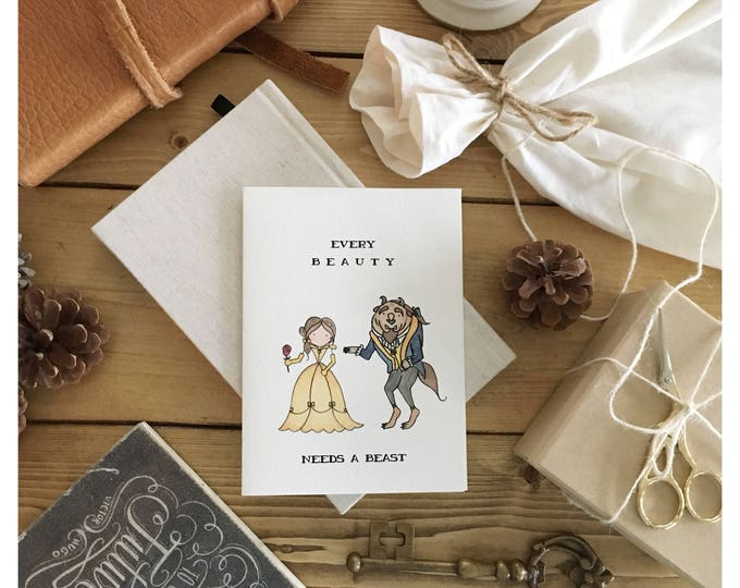 Featured listing image: Beauty and the beast card // beauty and the beast • Disney card • Disney love card • Valentine's Day card • love card • Disney princess card