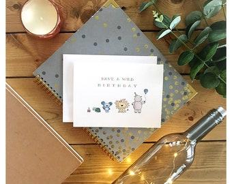 Wild birthday // wild child, jungle theme, birthday card, greeting card, happy birthday, animal theme, lion, koala, turtle, hippo, cute card