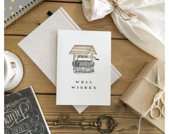 Wishing You Well // empathy card, greeting card, get better, encouragement card, good luck card, well wishes, all the best, punny, pun