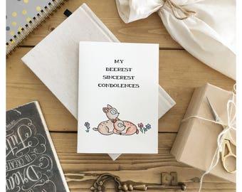 Condolences Card // deer card • sorry card • sympathy card • sad card • greeting card • sincerely • cute card • watercolour card • deer •