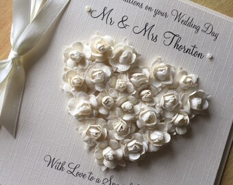 Paper Rose /& Pearl Heart Personalised Luxury Pearl Wedding Anniversary Card
