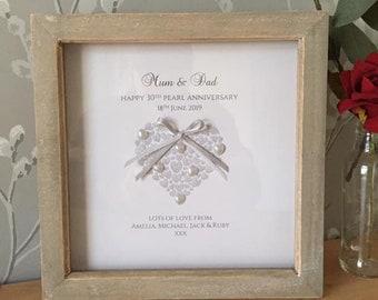 Pearl Wedding Anniversary Gift, 30th Anniversary Gift, Personalised 30th Anniversary Gift, Pearl Anniversary Frame, Handmade