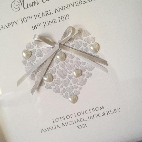 Pearl 30th Anniversary Personalised Gift Wrap /& Optional Personalised Ribbon