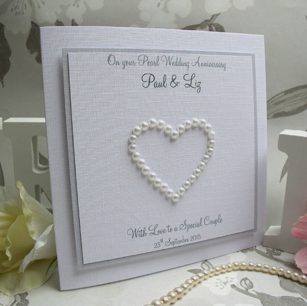Gifts For A Pearl Wedding Anniversary: 30th Pearl Wedding Anniversary Handmade Personalised Card
