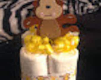 Mini Monkey Cuddle Buddy Diaper Cakes