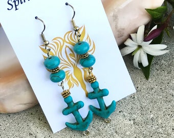 Blue Howlite Anchor Earrings