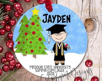 "3"" Custom Christmas Ornament, Honors Graduate Ornament, Boy Graduate 2020 2021 High School Graduation Ornament, 2020 college grad gift, mask"