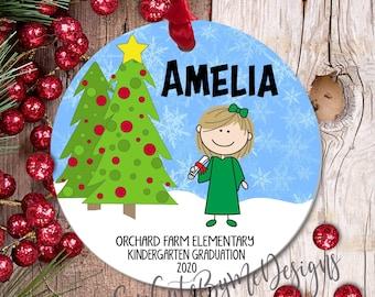 "3"" Personalized Christmas Ornament, Girl Graduate, 2020 2021 Kindergarten Graduation Ornament, Quarantine Graduation, Mask"