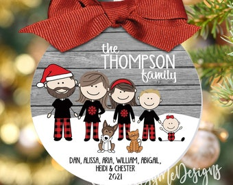 """2021 Family Christmas Ornament in Plaid Pajamas - Large 3.5"""" Ornament, Character Ornament, Personalized Ornament, Christmas Gift, Family PJs"""