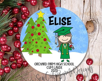 """3"""" Personalized Christmas Ornament, 2020 2021 Honors Graduate, Girl Graduate, High School Graduation Ornament, college grad gift"""