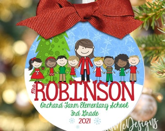"""Large 3.5"""" Teacher Christmas Ornament, Personalized Teacher Ornament, Personalized Teacher Gift, Classroom Gift"""