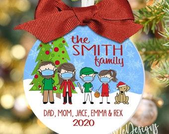 "Family Quarantine Ornament - Large 3.5"" Ornament, Personalized Covid Ornament, 2020 Mask Ornament, Christmas Gift, Quarantine Christmas"