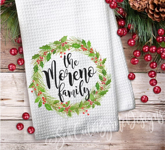 Personalized Kitchen Towels Christmas Wreath