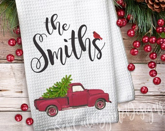 Personalized Christmas Kitchen Towel - Red Vintage Truck Kitchen Towel - Waffle Weave Towel - Personalized Kitchen Towels - Christmas Tree