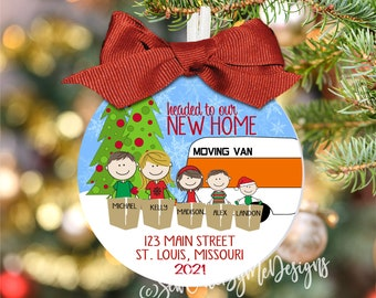 """Large 3.5"""" Moving Family Ornament, New Home Ornament, New Home Family Ornament, Just Moved Christmas Ornament"""