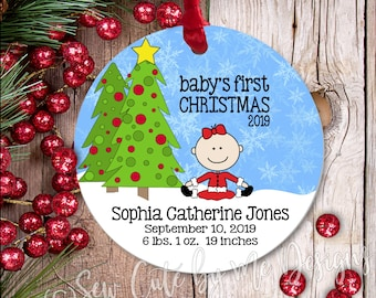 """3"""" Aluminum Baby Girls First Christmas Ornament, Babys First Christmas Ornament, Personalized Ornament, Baby Sister Gift New Baby Gift"""