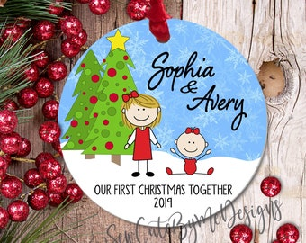 """3"""" Aluminum Personalized Sibling Christmas Ornament, Our First Christmas Together Ornament, New Sister Gift, New Brother Gift"""