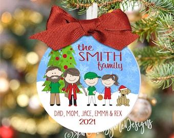 "2021 Family Christmas Ornament - Large 3.5"" Ornament, Character Ornament, Personalized Ornament, Xmas Ornament, Christmas Gift, Holiday Gift"