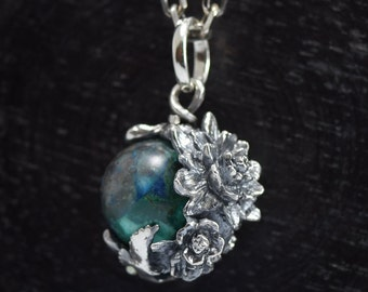 Planet Earth Necklace, chrysocolla,delicate hand carving,925,Solid Sterling Silver,