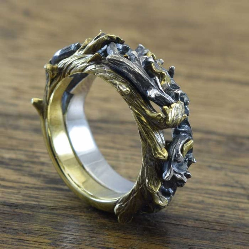 Gothic Ring,delicate hand carving,925,Solid Sterling Silver,Brass